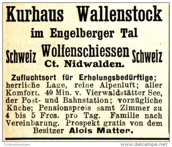 Original-Werbung/ Anzeige 1910 - KURHAUS WALLENSTOCK / ENGELBERGER TAL…