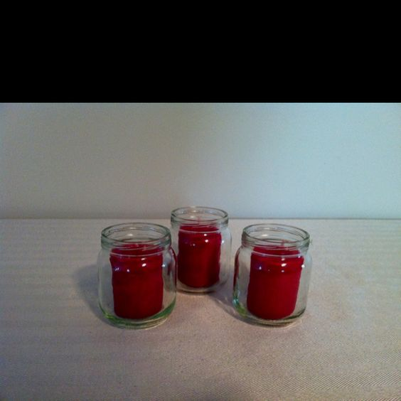 Simple candle holders made from baby food jars