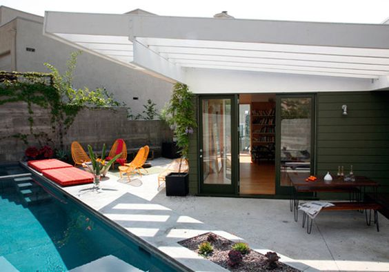 like the angle of the pool against the house and the pool furniture colors