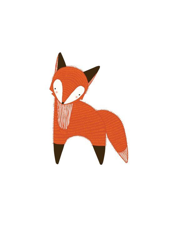 Fox nursery fun : , fox art print, art, orange nursery ...