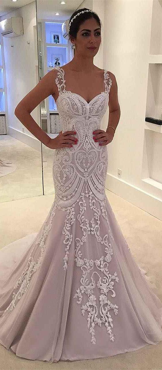 Mermaid Straps Sweep Train Pearl Pink Wedding Dress With Appliques Wedding Dresses Pink Wedding Dress Dresses