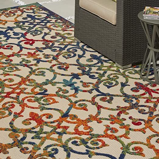 Nourison Aloha Indoor Outdoor Multicolor 7 X 10 Area Rug 7 X 10 Multi Color Area Rugs Rugs Outdoor Area Rugs Area rugs 7 x 10