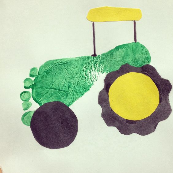Cute footprint green tractor craft for kids- on the farm