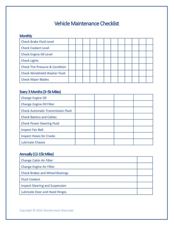 Free Family Printables Home Maintenance Checklist Vehicle