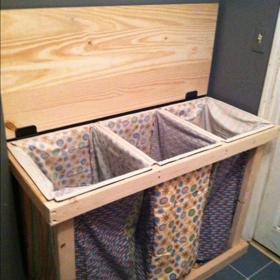Homemade laundry hamper great for the space at the top of the stairs pad the top to make it - Laundry hampers for small spaces plan ...