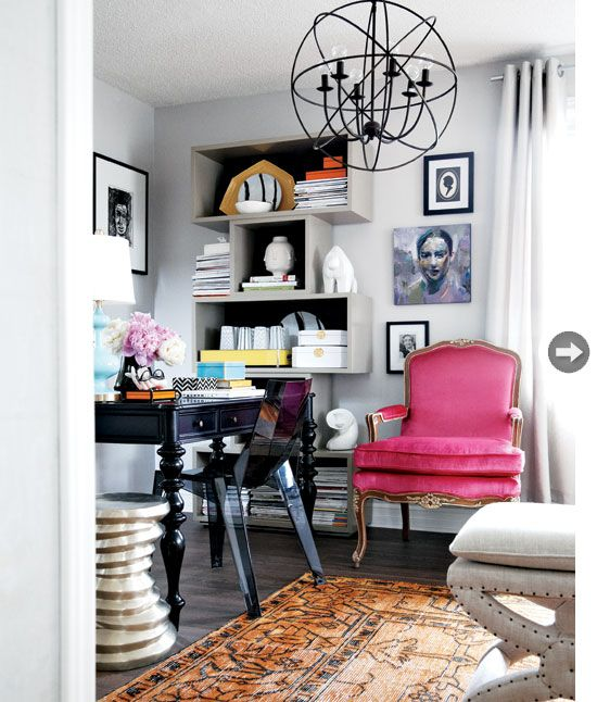 I love the mix of modern and vintage. I love the bold pink vintage piece, which is the focus of the room. The classiness of it makes everything else in the room come together and highlight the melange.