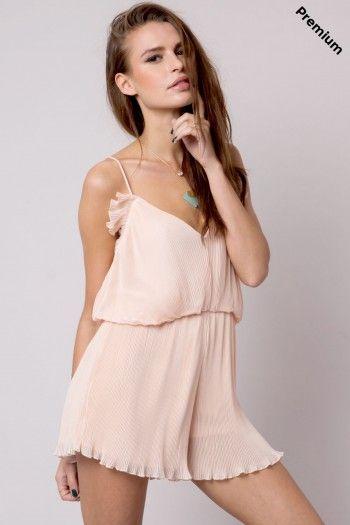 Mono corto plisado rosa Wang