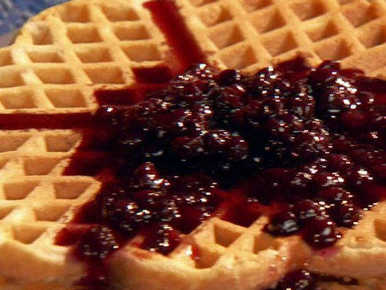 Cinnamon-Sugar Waffles with Blueberry Syrup from FoodNetwork.com