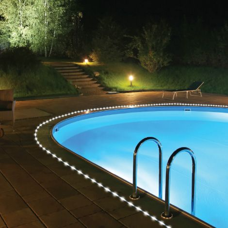 String Lights Around The Pool : Rope light around pools Rope Light Ideas Pinterest Solar, Pools and Lights