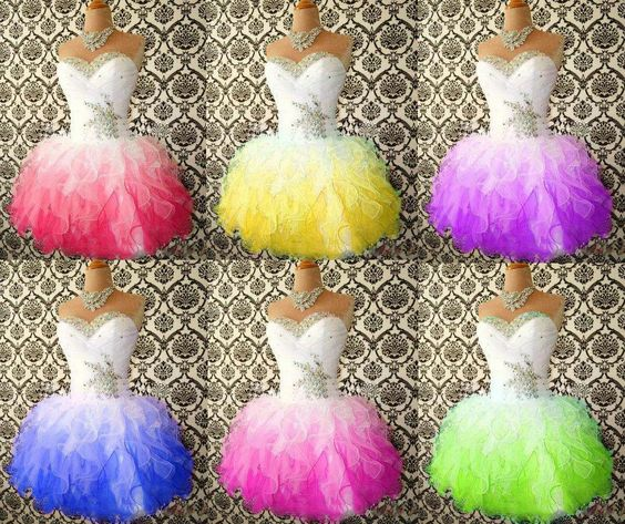 2015 Short Prom Dresses with Beaded Crystals Neckline Pleats Sweetheart Bodice Puffy Ruffles Colorful Homecoming Dresses from Bestoffers,$82.47 | DHgate.com