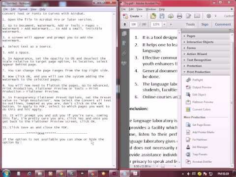 Watermark And Flatten Pdf Text Outline Tutorial
