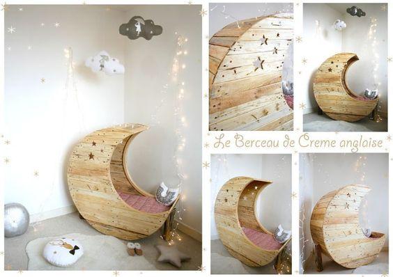 Lit Bebe Bois Palette : Le berceau Lune en bois de palette recycl? Cr?me anglaise