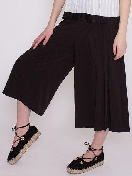 Dahlia Lilibette Black Silky Culottes with One Pleated Leg