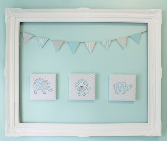 Adore this wall art in an aqua and gray chevron nursery! #nursery #wallart