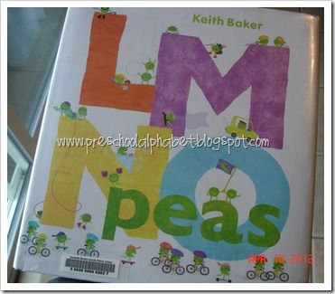 """Read """"LMNO Peas"""" by Keith Baker … a very creative ABC book. Each page is covered with little pea characters doing things that start with each letter."""