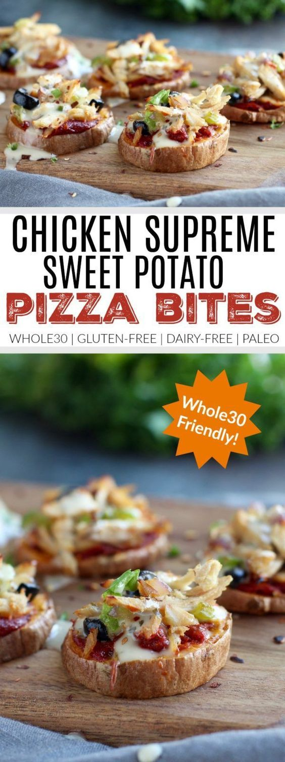 Chicken Supreme Sweet Potato Pizza Bites | pizza inspired recipes | healthy pizza alternatives | easy dinner recipes | healthy dinner recipes | Whole30 recipe ideas | Whole30 approved recipes | Whole30 dinner ideas | gluten free recipes | gluten free pizz