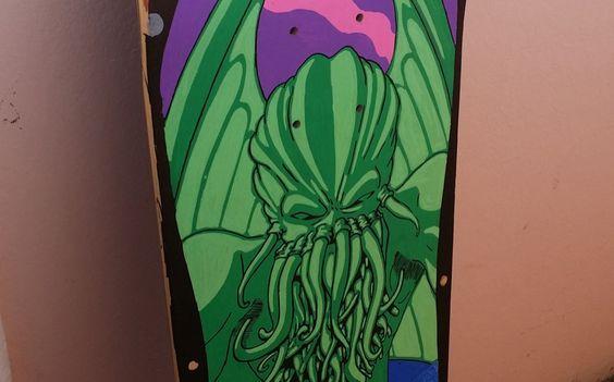 Mehdi Abdi -Illustration Cthulhu's skateboard