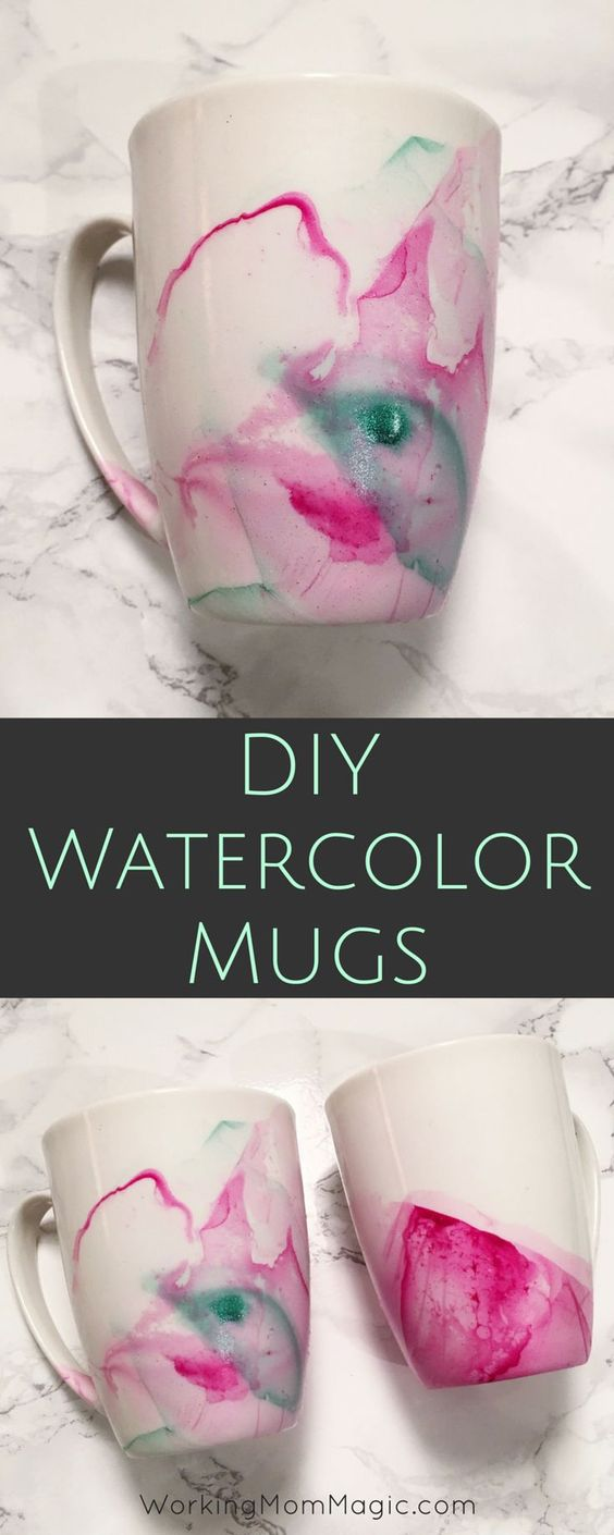 Create beautiful mugs using nail polish & mugs from the Dollar Store!: