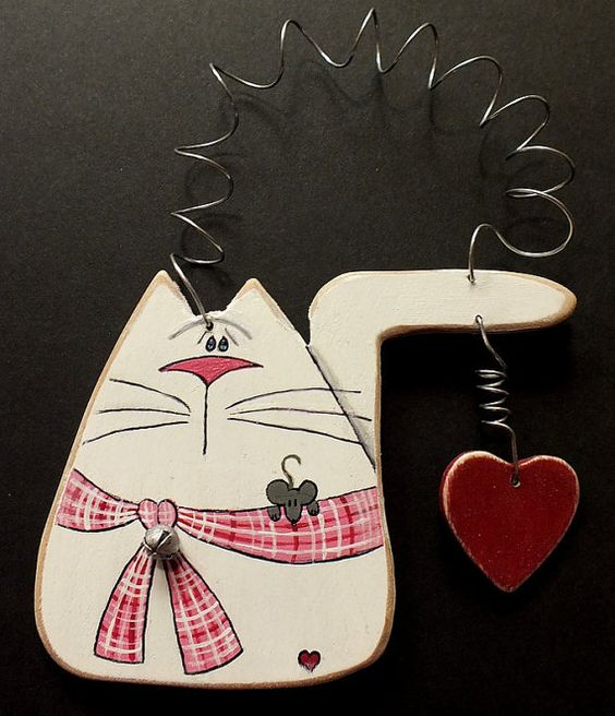 Tole Painted Wood White Cat with Heart Ornament and Magnet