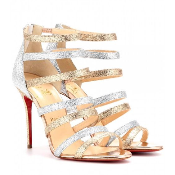 price of christian louboutin shoes - Christian Louboutin MARINIERE Glitter Silver Gold Strappy Sandal ...