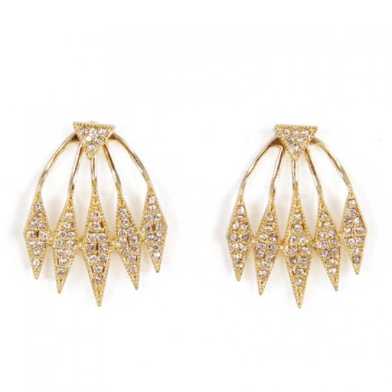 Pair of Graceful Rhinestoned Triangle Hollow Out Earrings For Women