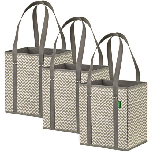 Grocery Shopping Bags Tote Carry Reusable Foldable Strong 3 Pack Heavy Duty Bag