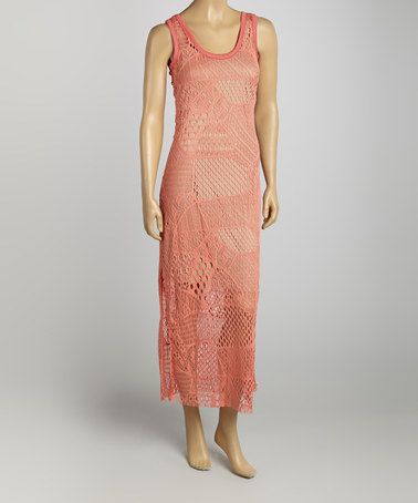 Loving this Coral Crochet Patchwork Maxi Dress on #zulily! #zulilyfinds