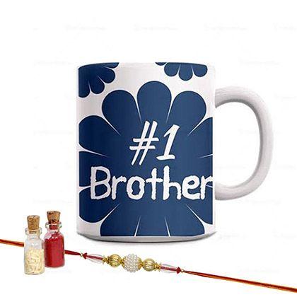 Number 1 Brother Mug N Rakhi Combo including Roli Chawal