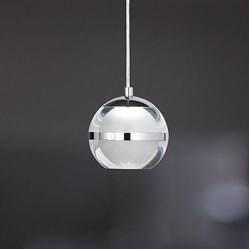 Umei Globe Pendant Light Ambient Light Chrome Metal Acrylic Led