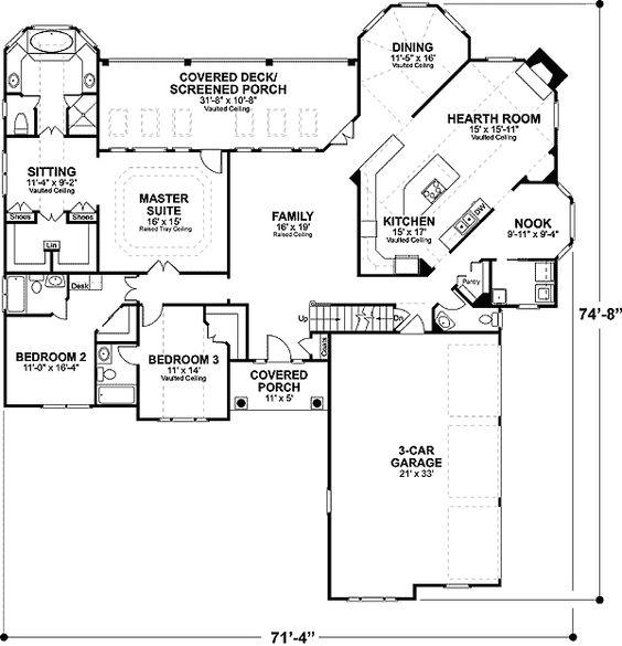 Plan GA  Classic Brick Ranch Home Plan   Southern House Plans    Plan W GA  Traditional  Photo Gallery  Ranch  Corner Lot  Southern House Plans