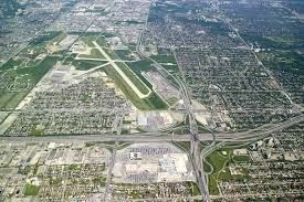Aerial view of Yorkdale (bottom centre) and Downsview/De Havilland  air base