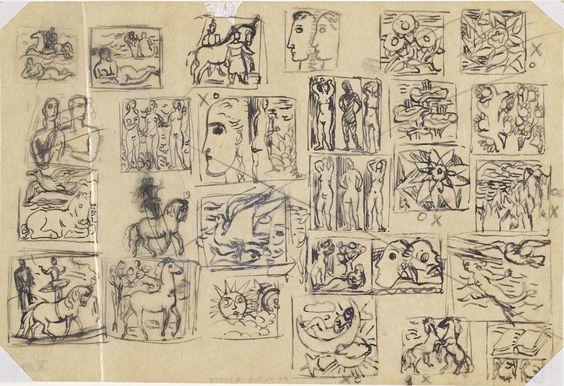 Leo Gestel | Embleemontwerpen (paarden, vogels, gezichten, etc.), Leo Gestel, c. 1930 - c. 1935 | Kleine voorstellingen over het hele blad, met onder andere paarden, de drie gratiën, baadsters, vogels en bloemen (zoals rechtsboven).