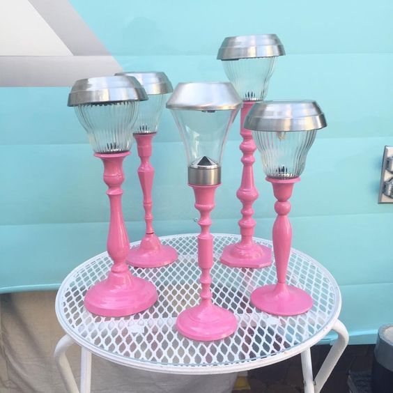 solar lights in candlesticks