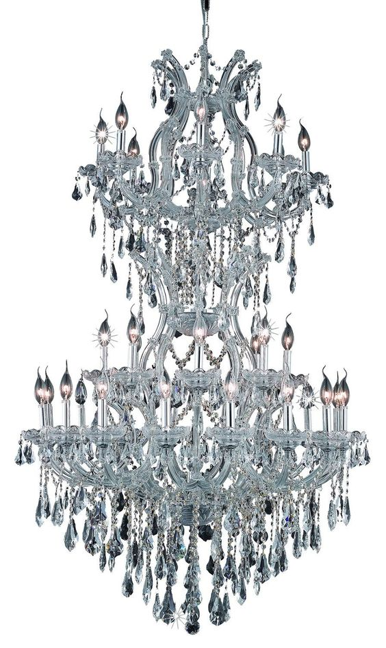 Elegant Lighting - 2801 Maria Theresa Collection Large Hanging Fixture D36in H56in Lt:32+2 Chrome Finish (Royal Cut Crystals)