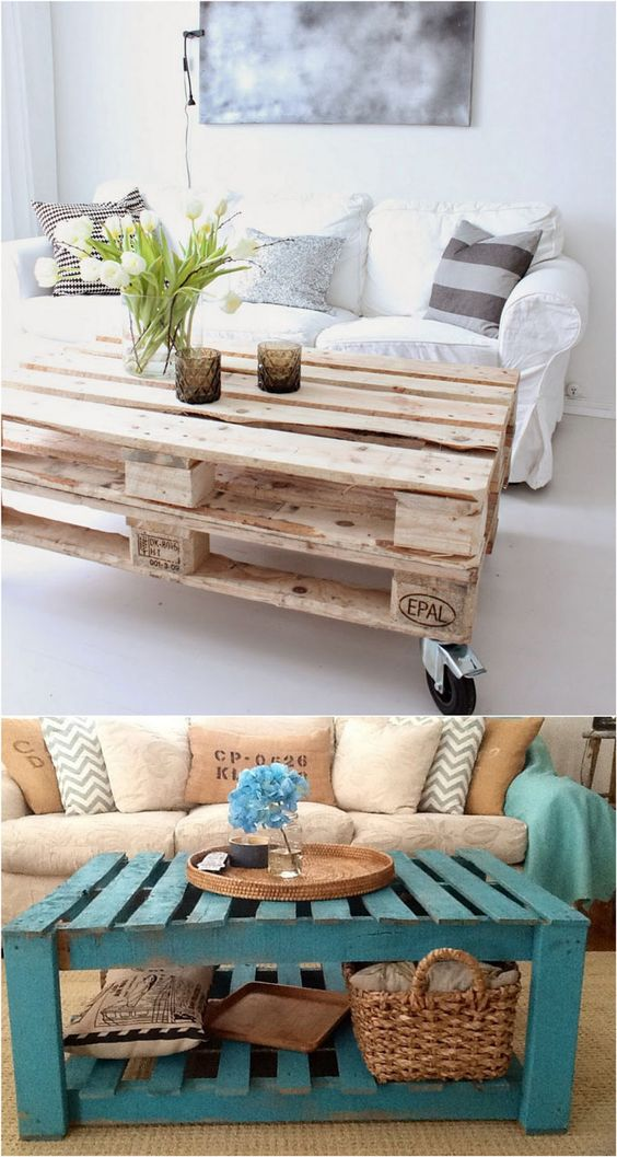 DIY Pallet Coffee Table Ideas | A Piece of Rainbow - 12 easiest and great looking pallet sofas and coffee tables that one can make in just an afternoon. Detailed tutorials and lots of great resources! - A Piece Of Rainbow #easypalletprojects #beginnerwoodworking #easywoodworkingtutorials #woodworkingtutorials #DIYprojects #easyDIYprojects #diyhomedecor #diyfurniture