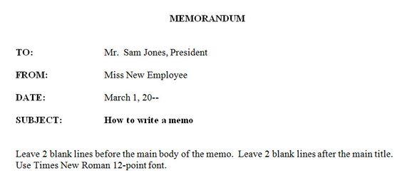 formal memorandum example