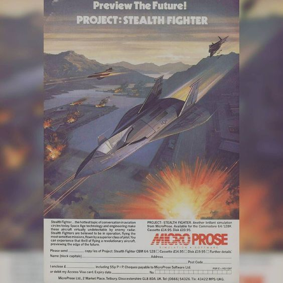 Another classic piece of artwork needless to say the graphics were not the same as the advert! #retrogaming #retrogamingrelived #bringbackretrogaming #retrogamingwriter #retrogamingcables #mrretrogaming #retrogamingexpo2016 #retrogamingexpo #retrogamingcollection #igersretrogaming #1980s #oldschool #microprose #stealthfighter #c64 #commodore