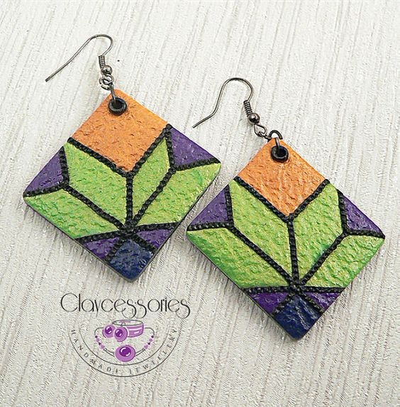 Leather patchwork earrings-polymer clay by claycessories on Etsy