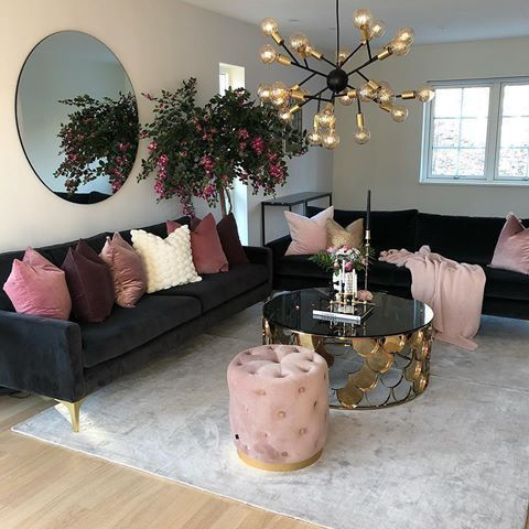 Chic Dreamy Modern Living Room With Pink Suede Shades And Black Multi Crystal Light Bu Living Room Decor Cozy Colourful Living Room Living Room Decor Apartment X fashion chic living room