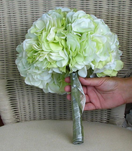 Bridal bouquet in lime green hydrangeas. $55.00, via Etsy.
