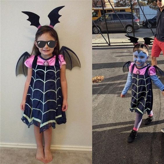 Toddler Kids Baby Girl Costume Dress+Hair Hoop+Bat Wing Outfit Halloween Clothes