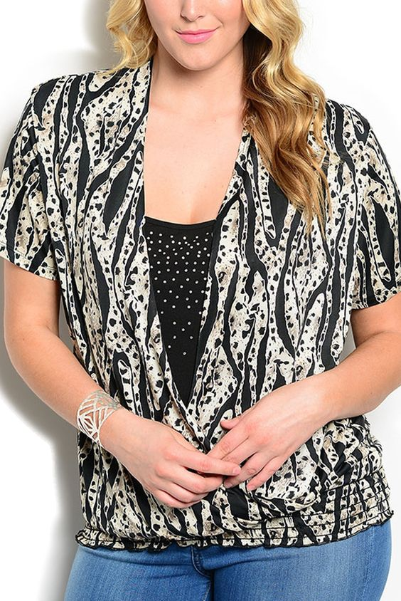 DHStyles Women's Ivory Black Plus Size Chic Embellished Animal Print Smocked Layered Top - 1X Plus #sexytops #clubclothes #sexydresses #fashionablesexydress #sexyshirts #sexyclothes #cocktaildresses #clubwear #cheapsexydresses #clubdresses #cheaptops #partytops #partydress #haltertops #cocktaildresses #partydresses #minidress #nightclubclothes #hotfashion #juniorsclothing #cocktaildress #glamclothing #sexytop #womensclothes #clubbingclothes #juniorsclothes #juniorclothes #trendyclothing…