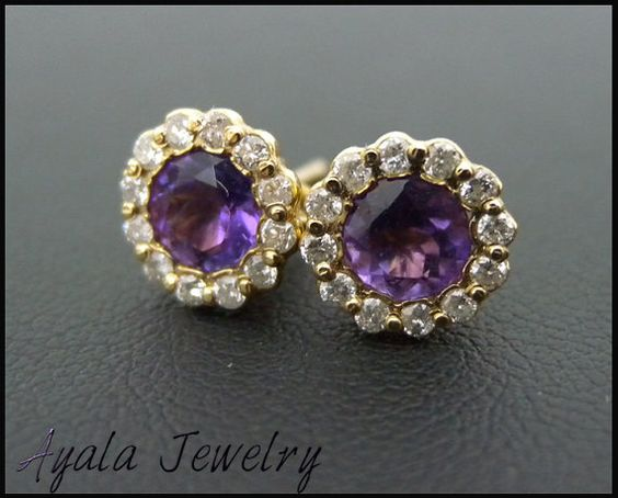 Superb Design! 1.36 Ctw 14K Gold Round Cut Amethyst Stud Earrings with Side Diamonds- FREE Worldwide Shipping