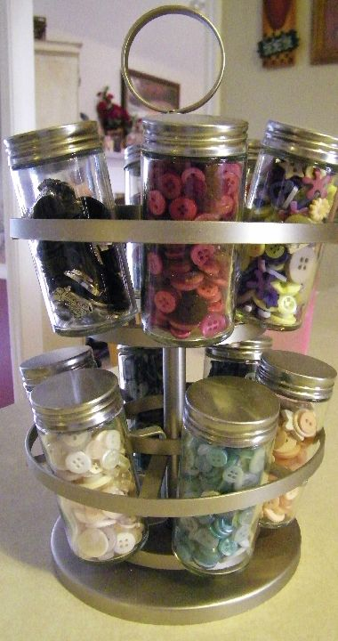 antique spice rack used for button storage