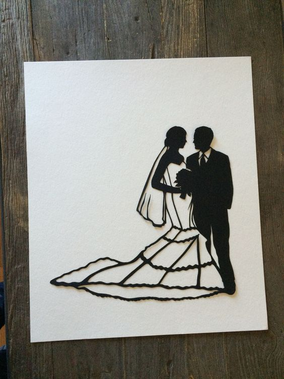 Wedding Silhouette Wall Art - First Anniversary Paper Gift