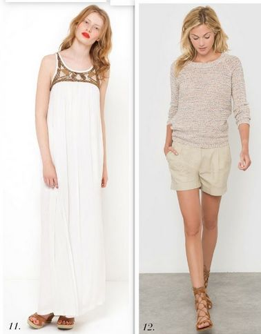 1: White maxi dress with brown details+brown sandals. 2: beige summer sweater+beige shorts+brown lace up sandals. Summer outfits 2016