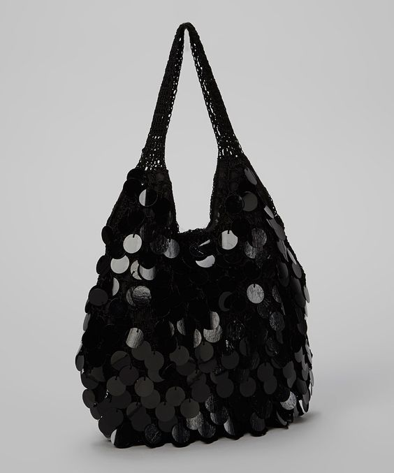 Loving this Capelli New York Black Paillette Hobo on #zulily! #zulilyfinds
