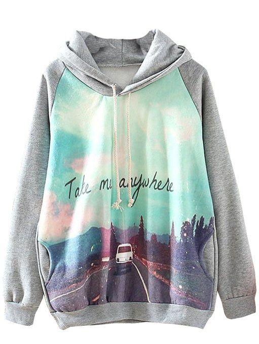 Sheinside Grey Hooded Long Sleeve Car Print Sweatshirt