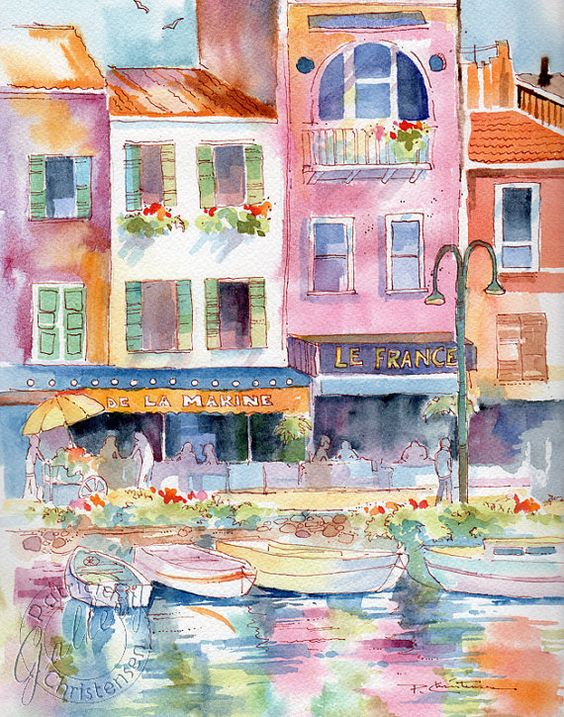 French France Marina Watercolor Painting by PChristensenGallery, $55.00