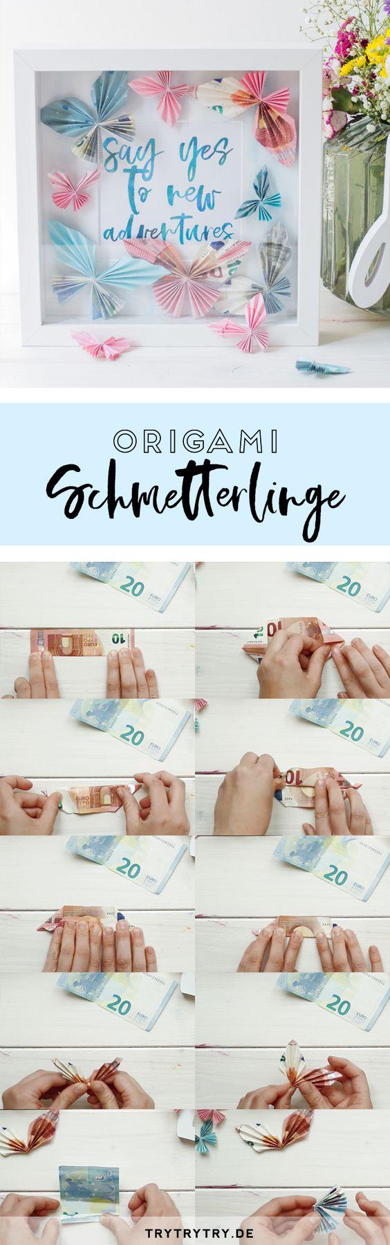 Origami Schmetterlinge als Geldgeschenk im Bilderrahmen